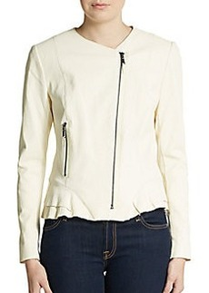 Elie Tahari Erin Leather Peplum Jacket