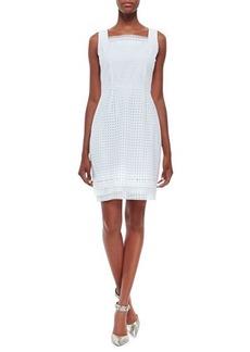 Elie Tahari Erin Sleeveless Eyelet Sheath Dress, White