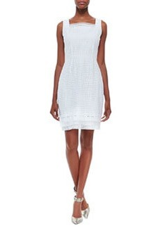 Elie Tahari Erin Sleeveless Eyelet Sheath Dress, White