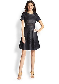 Elie Tahari Evangelina Leather Dress