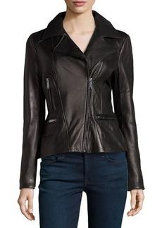 Elie Tahari Exclusive for Neiman Marcus Colette Bomber Leather Peplum Jacket