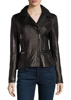 Elie Tahari Exclusive for Neiman Marcus Colette Bomber Leather Peplum Jacket