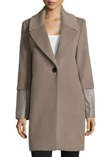 Elie Tahari Exclusive for Neiman Marcus Greece Wool One-Button Coat W/ Leather Cuffs
