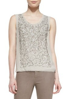 Elie Tahari Faben Sleeveless Sequined-Front Blouse