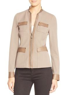 Elie Tahari Farratt Leather Trim Safari Jacket