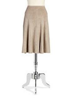 ELIE TAHARI Faux Suede A-Line Skirt