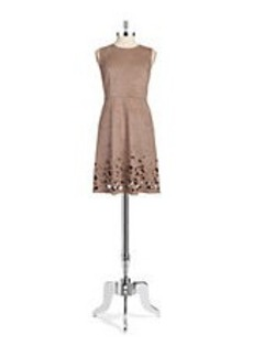 ELIE TAHARI Faux-Suede Laser Cut Dress