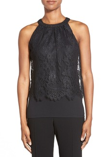 Elie Tahari 'Fey' Lace Overlay Jersey Top