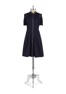 ELIE TAHARI Front-Zip A-Line Dress