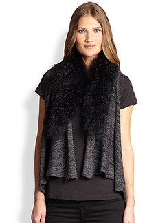 Elie Tahari Fur-Collar Stassi Sweater
