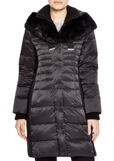Elie Tahari Fur Trim Quilted Puffer Coat