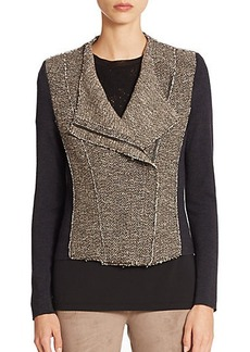 Elie Tahari Gabby Wool & Tweed Asymmetrical Jacket