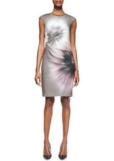 Elie Tahari Ginger Print Side-Pleated Sheath Dress