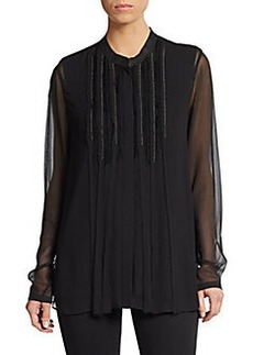 Elie Tahari Gracie Leather-Trimmed Silk Blouse
