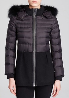 Elie Tahari Gracie Mixed Media Puffer Coat