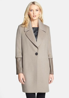 Elie Tahari 'Greece' Leather Sleeve Wool Coat