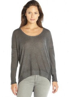 Elie Tahari grey cashmere knit scoopneck 'Mavis' hi-low sweater