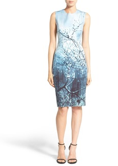 Elie Tahari 'Gwenyth' Print Sleeveless Scuba Knit Sheath Dress