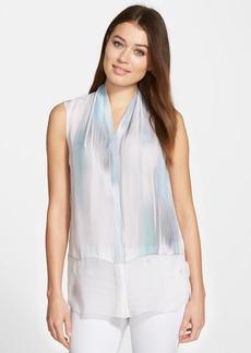 Elie Tahari 'Hayden' Print Sleeveless Silk Blouse