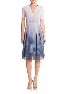 Elie Tahari Hilary Pansy Blur Mesh Dress
