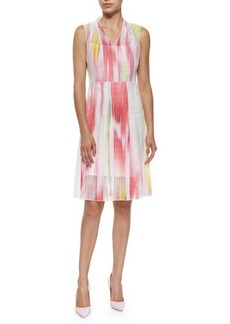 Elie Tahari Hillary Sleeveless Mesh Full-Skirt Dress  Hillary Sleeveless Mesh Full-Skirt Dress