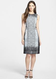 Elie Tahari 'Holly' Print Mixed Media Sheath Dress