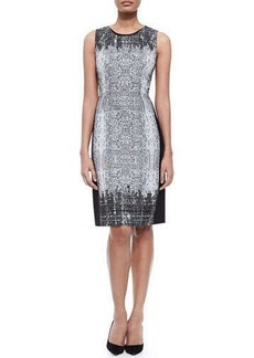 Elie Tahari Holly Sleeveless Snake-Print Sheath Dress