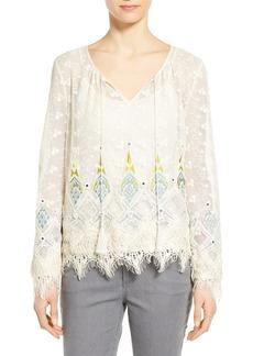 Elie Tahari 'Imelda' Embellished Cotton Mesh Blouse