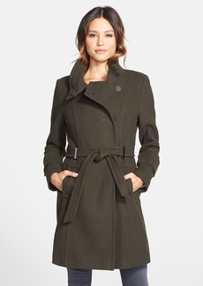 Elie Tahari 'India' Stand Collar Belted Wool Blend Coat