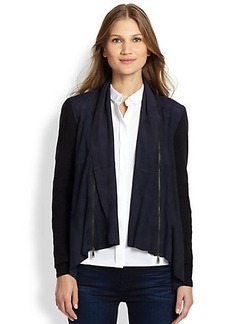 Elie Tahari Iryna Suede Drape-Front Jacket