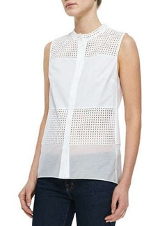Elie Tahari Isabel Sleeveless Perforated Blouse