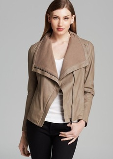 Elie Tahari Jacket - Andreas Drape Front Leather