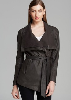 Elie Tahari Jacket - Isabelle Drape Front Leather