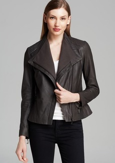 Elie Tahari Jacket - Jeanette Drape Front Leather