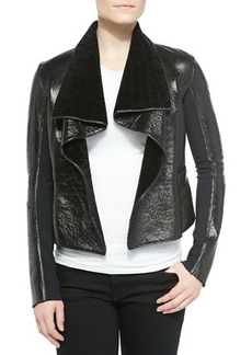 Elie Tahari Jacqueline Open-Front Shearling Jacket, Black