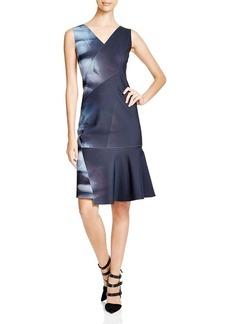 Elie Tahari Jadyn Floral Ombre Scuba Dress