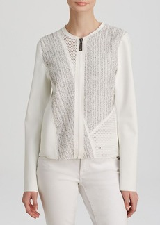 Elie Tahari Jandra Mixed Media Jacket
