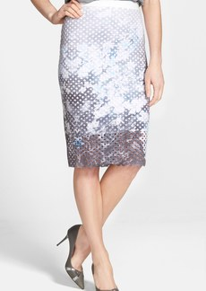 Elie Tahari 'Janis' Print Laser Cut Pencil Skirt