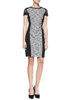 Elie Tahari Jaylene Ponte-Panel Tweed Sheath Dress