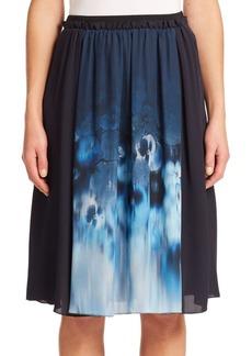 Elie Tahari Jenna Silk Pansy-Print Skirt