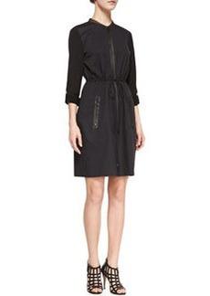Elie Tahari Jennifer Long-Sleeve Zip Shirtdress, Black