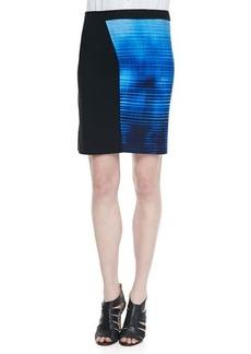 Elie Tahari Jessa Mixed-Media Slim Skirt