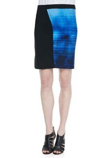 Elie Tahari Jessa Mixed-Media Slim Skirt