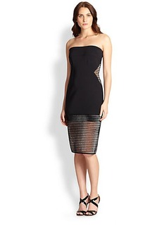 Elie Tahari Joey Mesh-Detail Dress