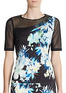 Elie Tahari Joy Mesh-Panel Blouse