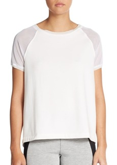 Elie Tahari Juliana Split-Back Mesh Top