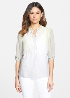 Elie Tahari 'Kasha' Mesh Collar Silk Blouse