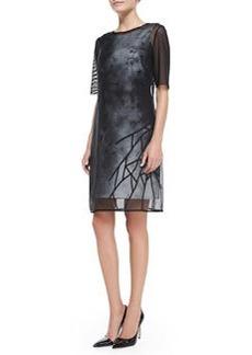 Elie Tahari Kathleen Sheer-Layer Floral Dress
