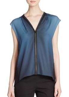 Elie Tahari Kaylee Printed Zip-Front Blouse