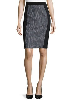 Elie Tahari Kim Tweed-Panel Pencil Skirt